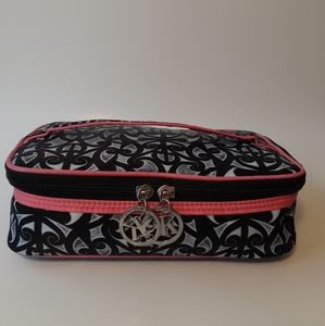 Sophia Black, White, Pink Cosmetics Bag Case